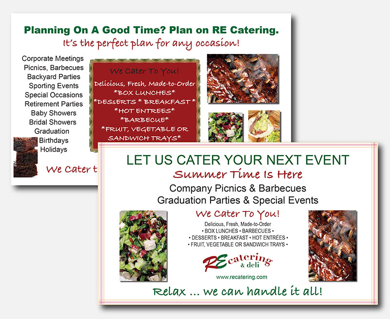 Logo and sign for RE Catering